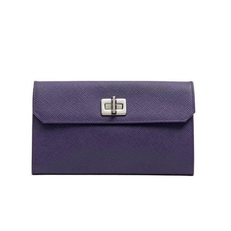 PRADA Clutch in Purple Saffiano Leather