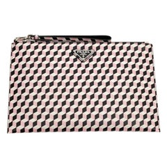PRADA Clutch With Black, Pink And White Patterns