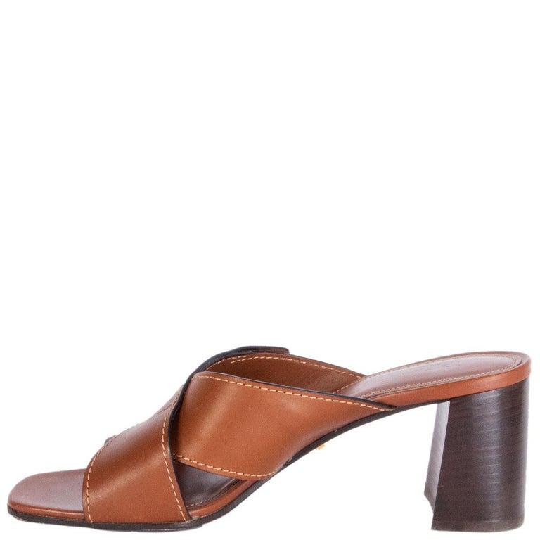 Brown PRADA cognac brown leather CRISS CROSS BLOCK HEEL Sandals Shoes 39.5