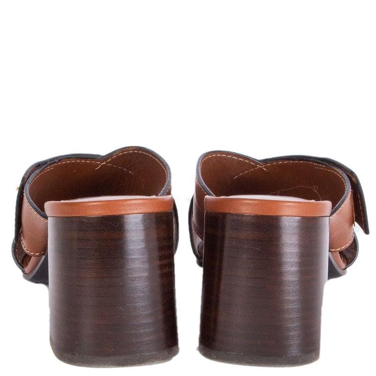 PRADA cognac brown leather CRISS CROSS BLOCK HEEL Sandals Shoes 39.5 In Excellent Condition In Zürich, CH
