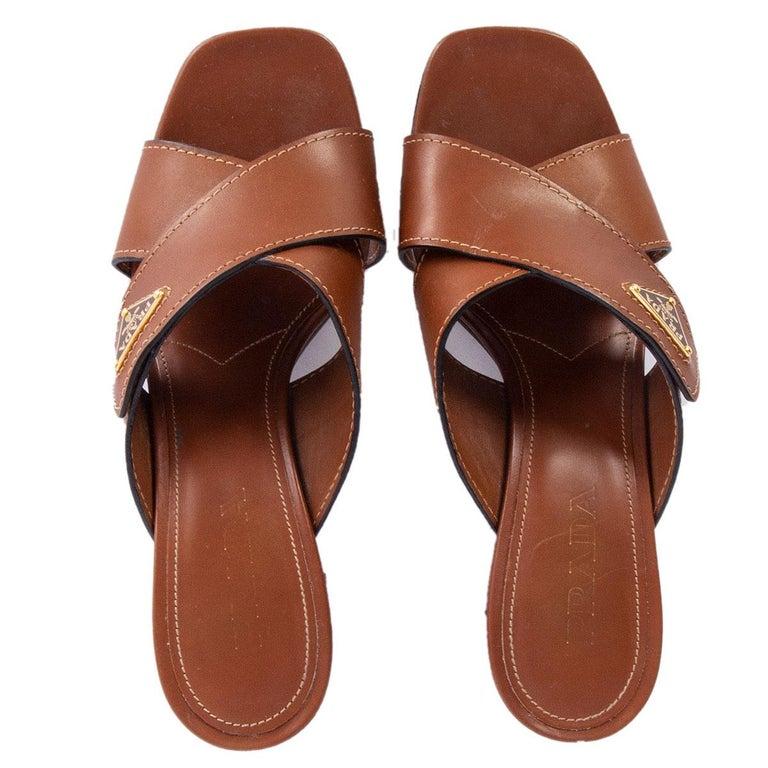 Women's PRADA cognac brown leather CRISS CROSS BLOCK HEEL Sandals Shoes 39.5