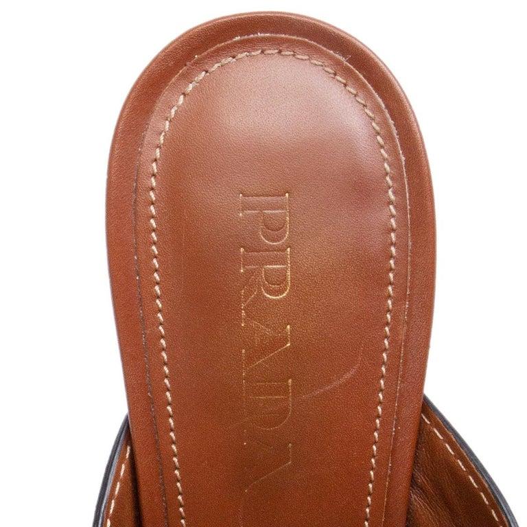PRADA cognac brown leather CRISS CROSS BLOCK HEEL Sandals Shoes 39.5 1