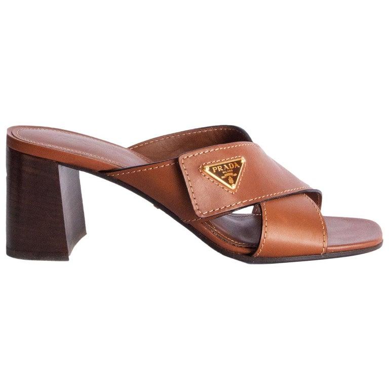 PRADA cognac brown leather CRISS CROSS BLOCK HEEL Sandals Shoes 39.5