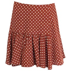 PRADA cognac brown silk POLKA DOT FLARED MINI Skirt 42 M