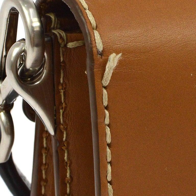 Prada Cognac Leather Colorblock Top Handle Satchel Flap Bag   Leather Silver tone hardware Push lock closure Made in Italy Strap handle drop 6