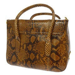 Prada Cognac Snakeskin Top Handle Satchel Evening Bag with Shoulder Strap Bag