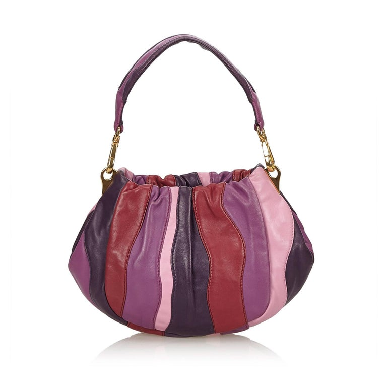 Prada Colour Blocked Gathered Leather Hand/Shoulder Bag  In Excellent Condition For Sale In Sheung Wan, HK