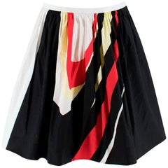 Prada Colour Blocked Printed A-Line Pleated Skirt - Size US 6