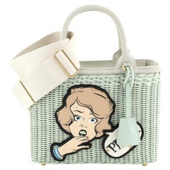 Prada Comic Basket Bag Wicker with Canapa and Applique Small