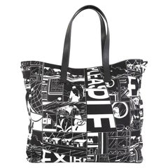 Prada Comic Shopping Tote Printed Tessuto Large