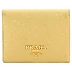 Prada Compact Monochrome Wallet Saffiano Leather