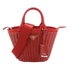Prada Convertible Basket Bag Wicker with Canvas Small