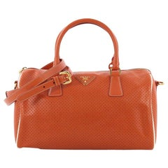 Prada Convertible Bauletto Bag Perforated Saffiano Leather