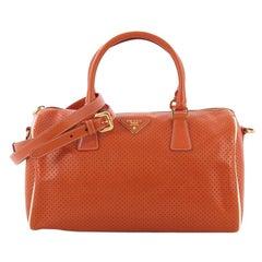 Prada Convertible Bauletto Bag Perforated Saffiano Leather Medium