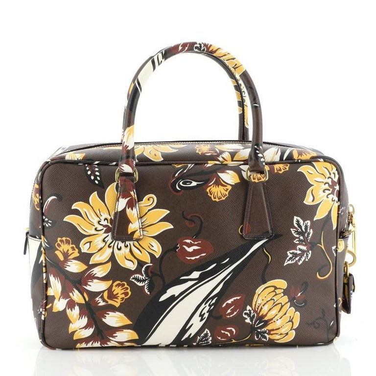 Black Prada Convertible Bauletto Bag Printed Saffiano Large For Sale