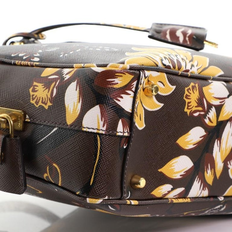 Prada Convertible Bauletto Bag Printed Saffiano Large For Sale 1