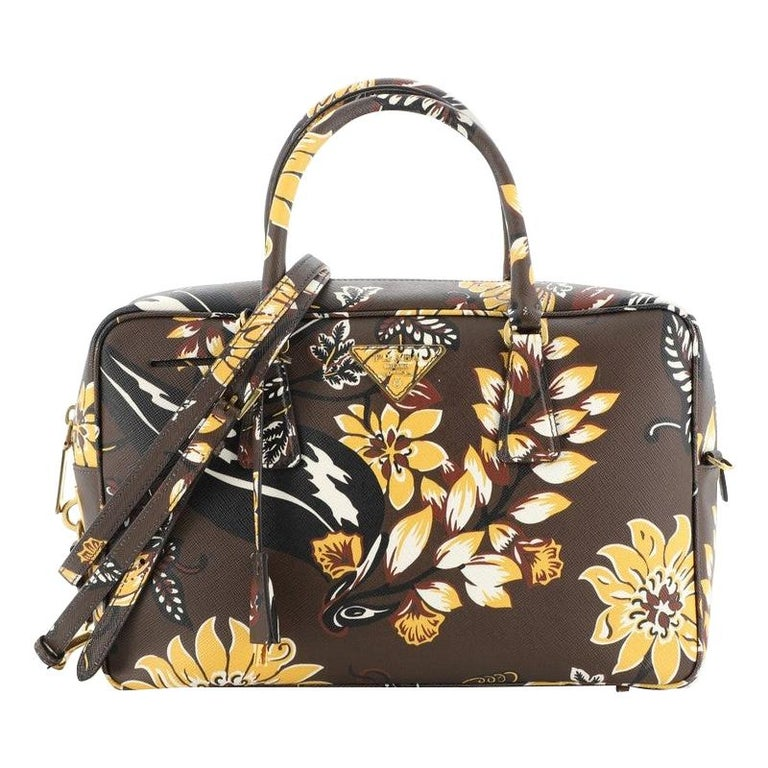 Prada Convertible Bauletto Bag Printed Saffiano Large For Sale