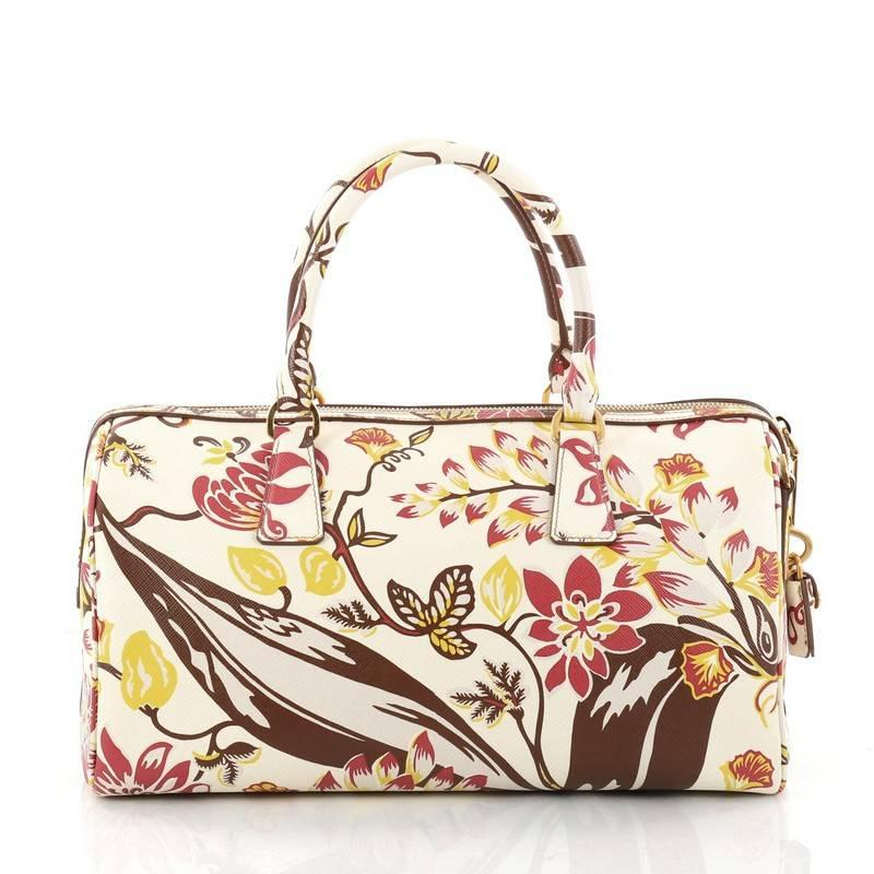 Prada Convertible Bauletto Bag Printed Saffiano Medium uR5c5BfMp