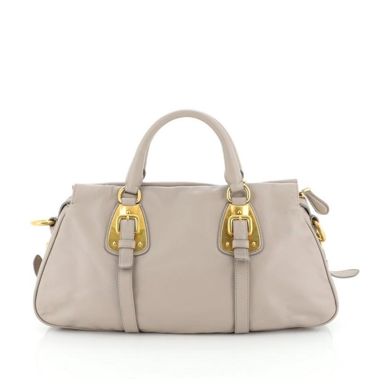 Prada Convertible Belted Satchel Soft Calfskin Medium In Good Condition For Sale In New York, NY