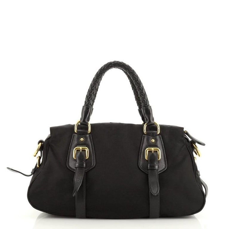 Prada Convertible Belted Satchel Tessuto and Leather Small In Good Condition For Sale In New York, NY