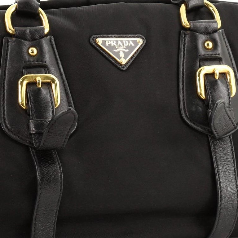Prada Convertible Belted Satchel Tessuto and Leather Small For Sale 2