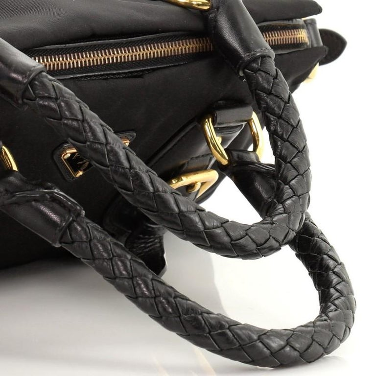 Prada Convertible Belted Satchel Tessuto and Leather Small For Sale 3