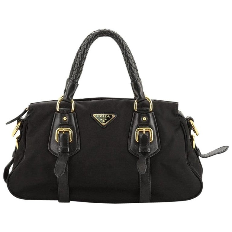 Prada Convertible Belted Satchel Tessuto and Leather Small For Sale