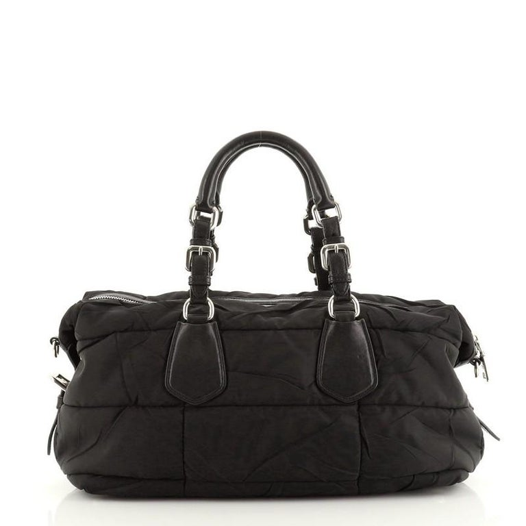 Prada Convertible Boston Bag Quilted Tessuto In Good Condition For Sale In New York, NY