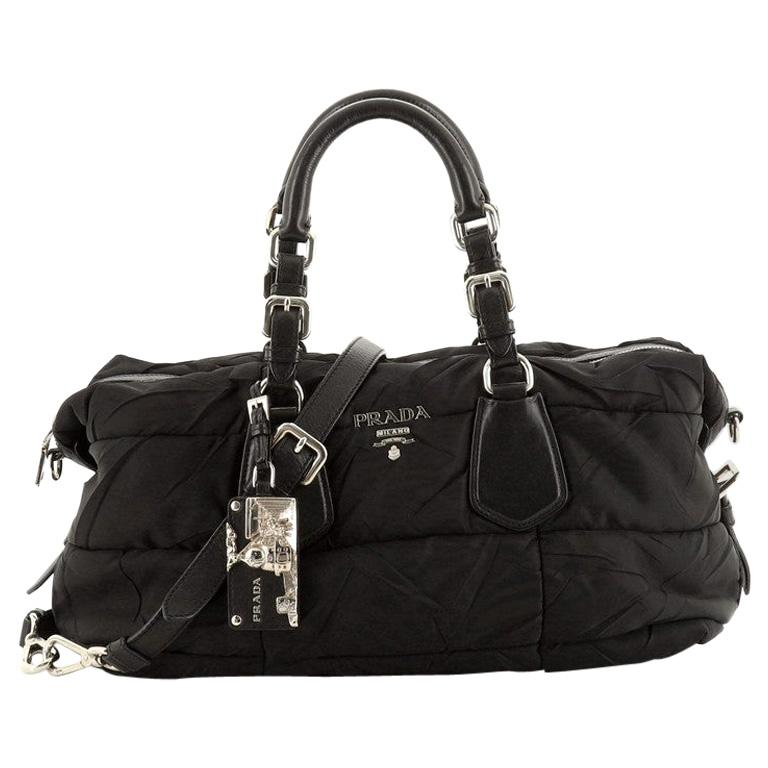 Prada Convertible Boston Bag Quilted Tessuto For Sale