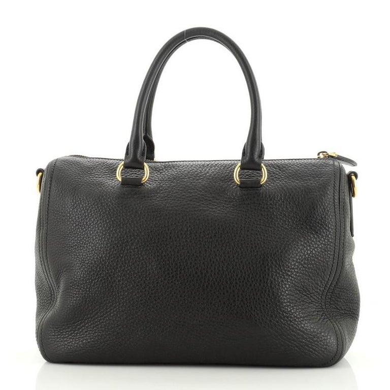 Prada Convertible Boston Bag Vitello Daino Small In Good Condition For Sale In New York, NY