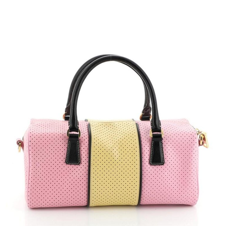 Prada Convertible Bowling Bag Perforated Saffiano Leather Small In Good Condition For Sale In New York, NY
