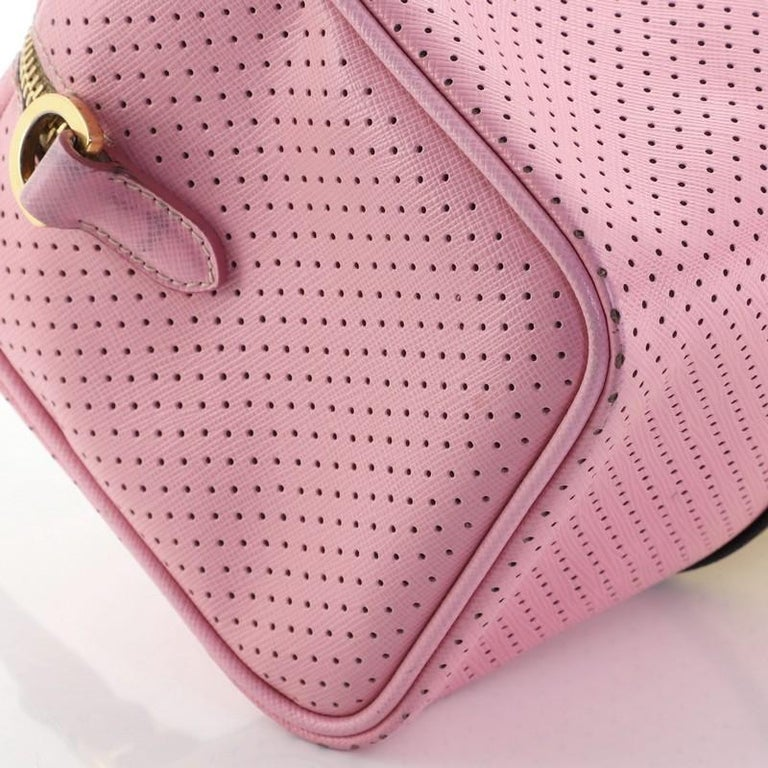 Prada Convertible Bowling Bag Perforated Saffiano Leather Small For Sale 1