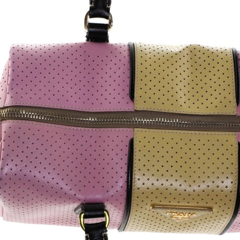Prada Convertible Bowling Bag Perforated Saffiano Leather Small For Sale 2