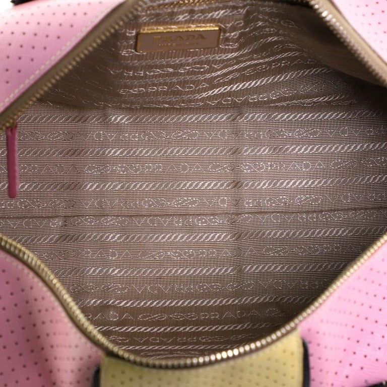 Prada Convertible Bowling Bag Perforated Saffiano Leather Small For Sale 4