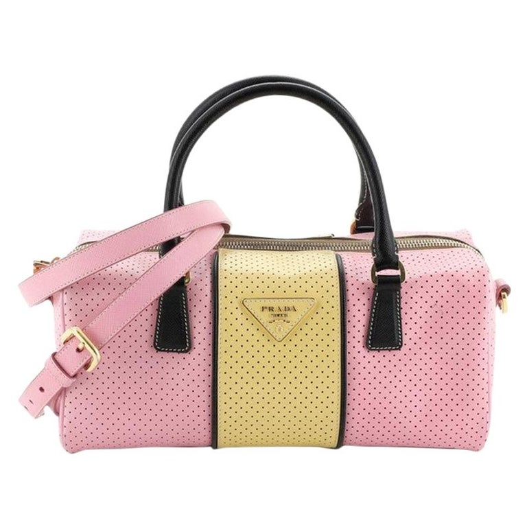 Prada Convertible Bowling Bag Perforated Saffiano Leather Small For Sale