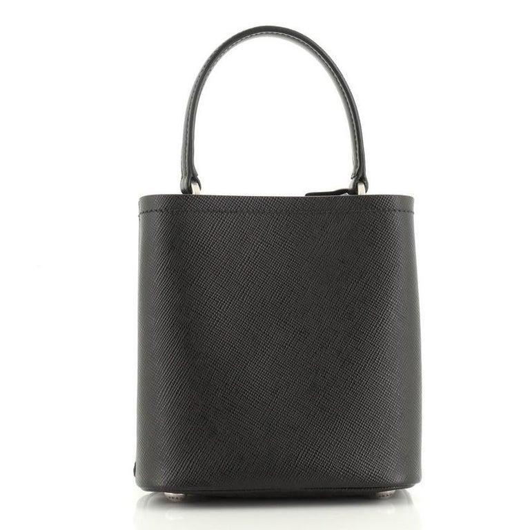 Black Prada Convertible Bucket Bag Embellished Saffiano Leather Mini For Sale