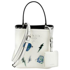 Prada Convertible Bucket Bag Embellished Saffiano Leather Mini