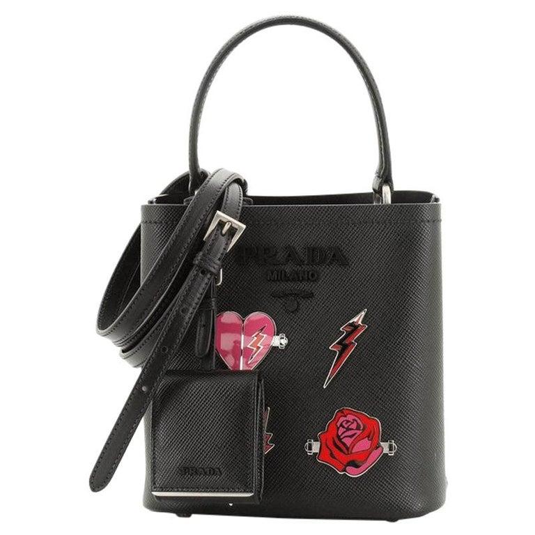 Prada Convertible Bucket Bag Embellished Saffiano Leather Mini For Sale