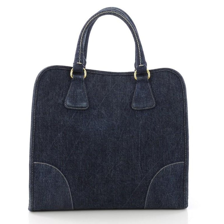 Prada Convertible Open Tote Denim Medium In Good Condition For Sale In New York, NY