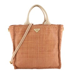 Prada Convertible Open Tote Madras Woven Leather Large