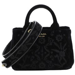 Prada Convertible Open Tote Quilted Embroidered Velvet Mini