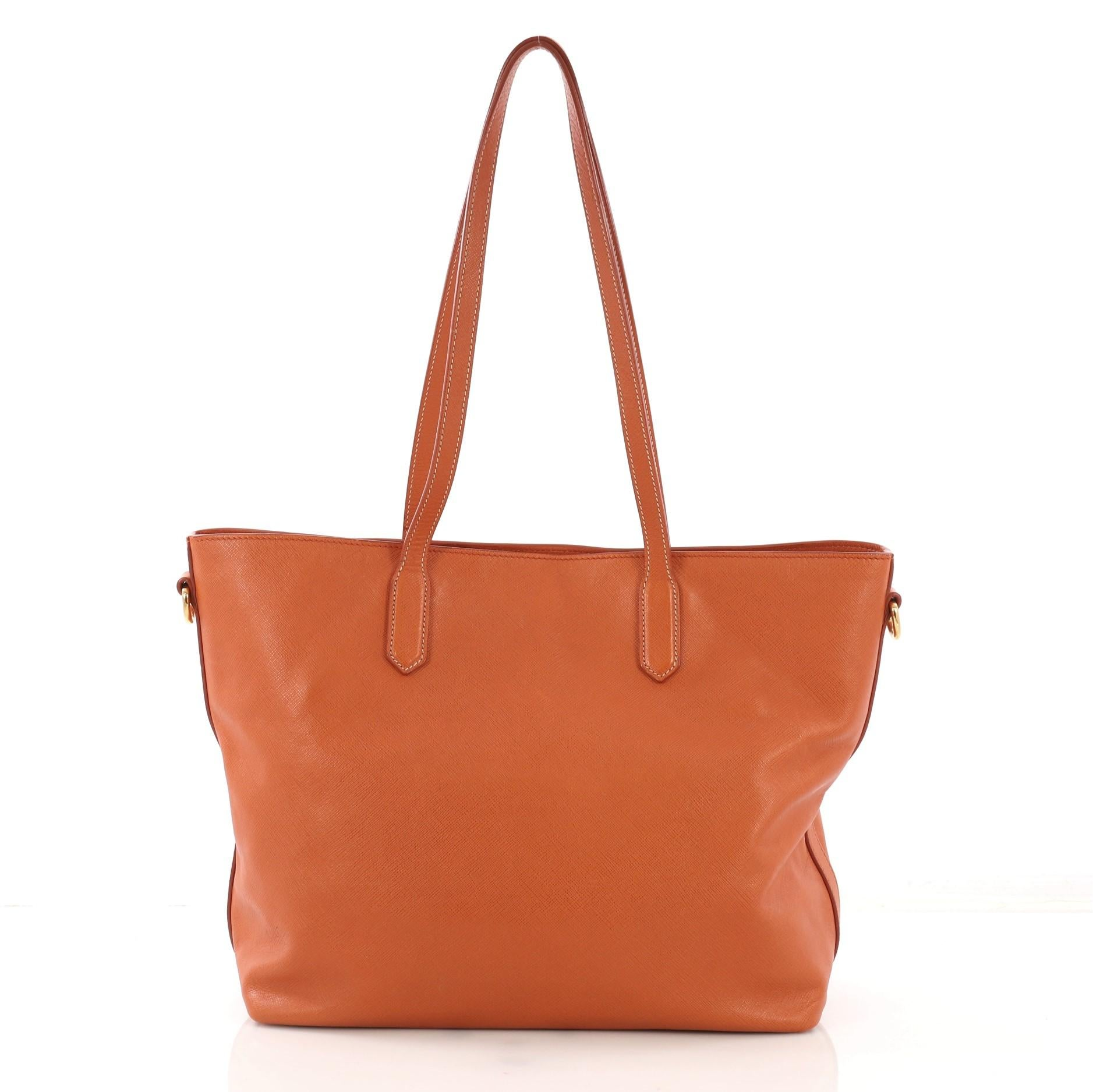308e6943 Prada Convertible Open Tote Saffiano Leather Medium