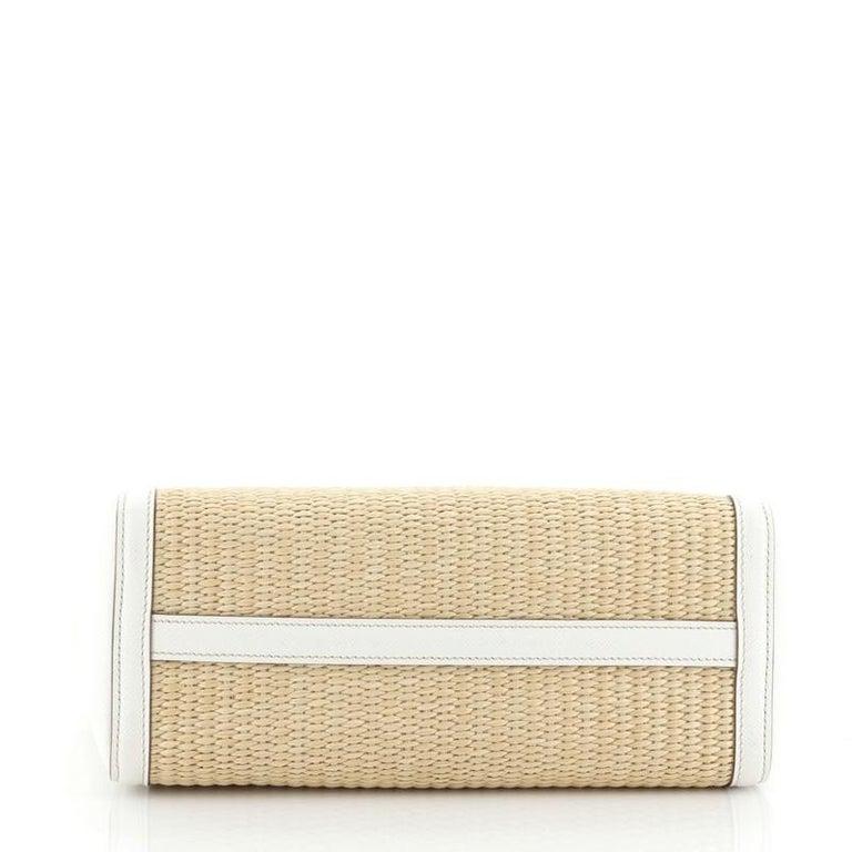 Women's or Men's Prada Convertible Open Tote Woven Straw with Saffiano Leather Medium