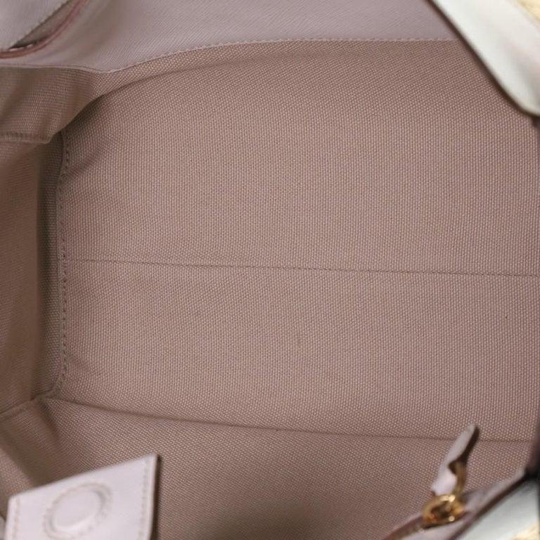 Prada Convertible Open Tote Woven Straw with Saffiano Leather Medium 1