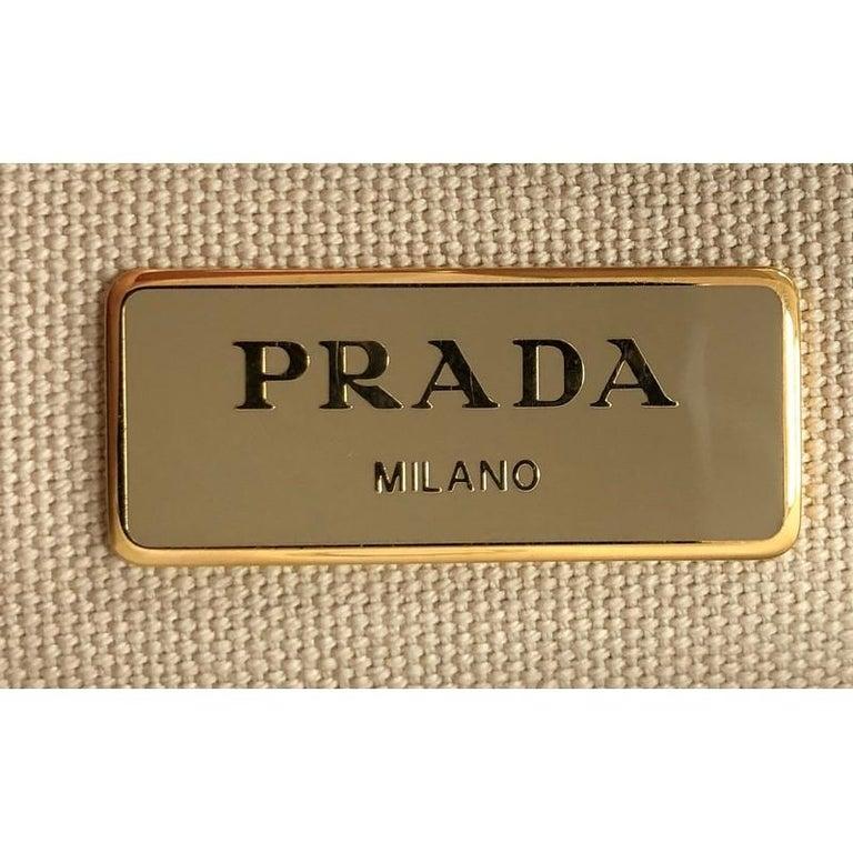 Prada Convertible Open Tote Woven Straw with Saffiano Leather Medium 2
