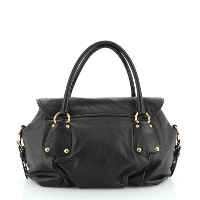 Prada Convertible Pushlock Flap Satchel Leather In Good Condition For Sale In New York, NY