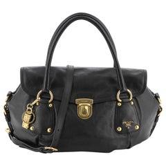 Prada Convertible Pushlock Flap Satchel Leather