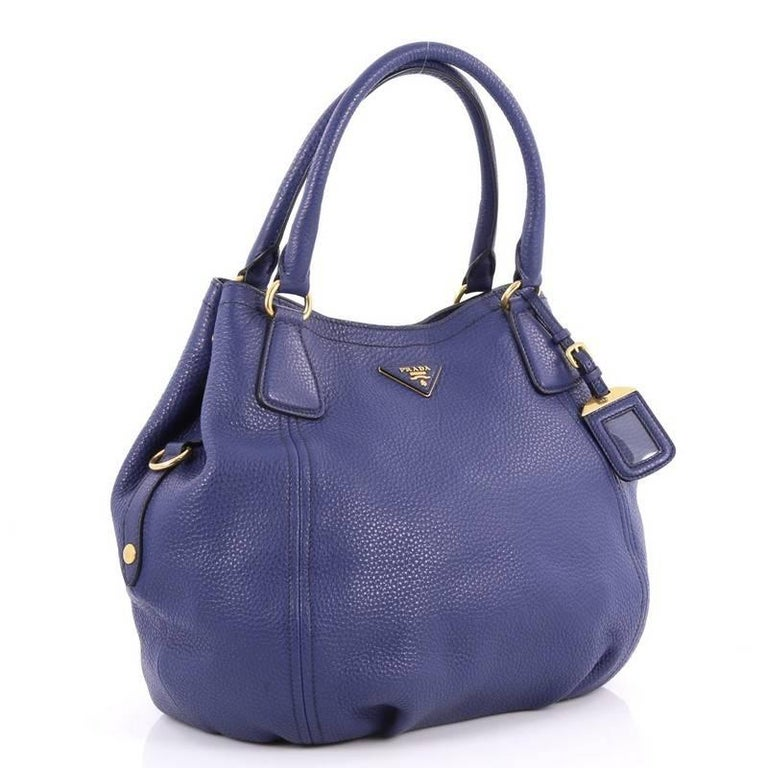 Purple Prada Convertible Satchel Vitello Daino Medium For Sale
