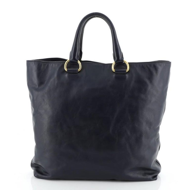 Prada Convertible Shopper Tote Soft Calfskin Large  In Good Condition For Sale In New York, NY
