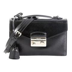 Prada Convertible Sound Bag Vernice Saffiano Leather Small
